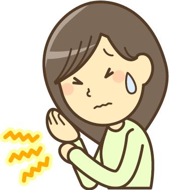 手首を痛がる女性のイラスト