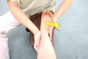足関節周囲筋トレーニングで外反運動を行なっている写真