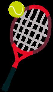テニスボールとテニスラケットのイラスト