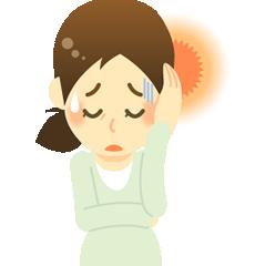 頭痛で辛そうな女性のイラスト