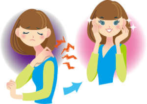 肩こりが解消する女性のイラスト