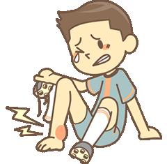 足を痛めた男性のイラスト