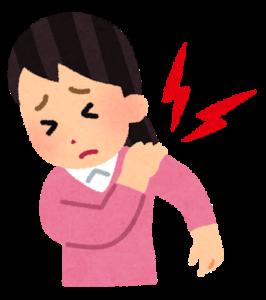 左肩を痛がる女性のイラスト