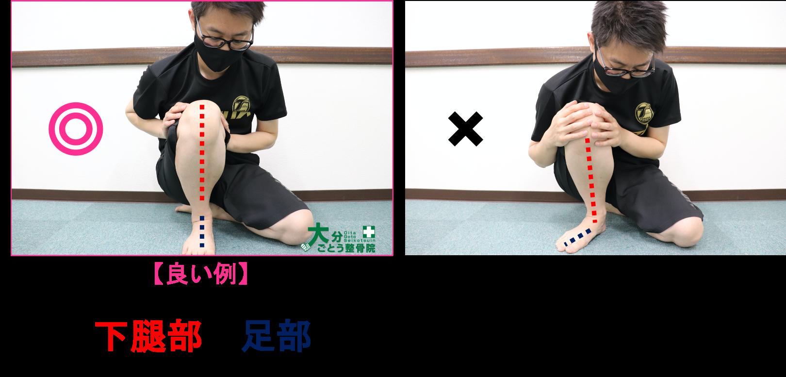 ヒラメ筋のストレッチの方法を示す写真画像2